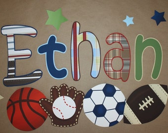 Fabric WALL NAME DECALS Patterned Sports Boys Bedroom Baby Nursery Wall Name Decal
