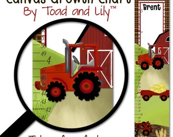 Canvas GROWTH CHART Red Tractor Boys Bedroom Baby Nursery Wall Art GC0108