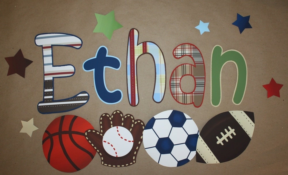 fabric wall name decals patterned sports boys bedroom baby. Black Bedroom Furniture Sets. Home Design Ideas
