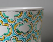 Clover Tile OOAK Painted Ceramic Planter