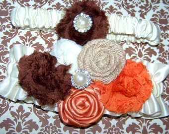 WEDDING GARTER SET - Brown and Orange, Burlap, Shabby Chic Romance, Rosettes and Shabby Chiffon Flowers