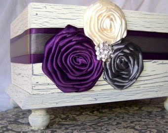 Wedding Card BOX, Ivory Card Box, Dark Plum, Charcoal Gray and Ivory,  Purple and Gray Wedding, Rustic Card Box, Custom colors available