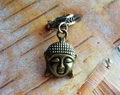 Antiques Brass Buddha Charm ADD to your DREADS Dreadlock Accessory Extension Accessories Dread Boho Bohemian Hippie Bead