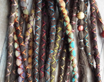 10 Custom Standard *Clip-in  Synthetic Hair and Wool Dreadlock Extensions Boho Dreads Hair Wraps & Beads