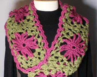 Ready to Ship Moebius Infinity Granny Square Crocheted Scarf