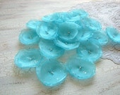 Fabric flowers, organza appliques, flowers for crafts, diy flowers, floral embellishments for bouquets(15pcs)- AQUA BLUE BLOSSOMS