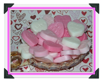 HEART SOAP SET  - CONVeRSATION hEaRTS SoAPS - 30 Party Favors - Strawberries & Cream - Glycerin Soap -  Hand Made - Gift - Detergent Free -