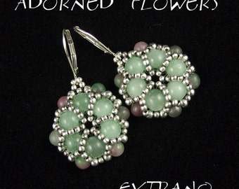 Round earrings tutorial, beaded earrings tutorial, seed beads earrings, beaded medallion, earrings pattern, flower earrings - ADORNED FLOWER