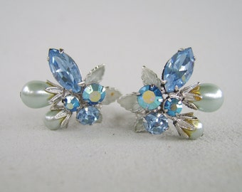 Vintage Blue Pearl AB Rhinestone Earrings Clip On