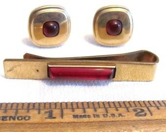 Vintage Kreisler Cufflinks and Tie Bar with Red Decoration