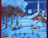 Love Is All Around You a Small Love, Valentine, wintery Snow country Lighthouse PRINT by Deborah Gregg
