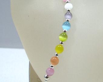 Girls Petite Rainbow Glass Beaded Medical ID Bracelet