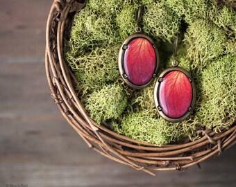 Red Rose leverback earrings - Red oval earrings - Red flower jewelry - Bloom by BeautySpot (E126)