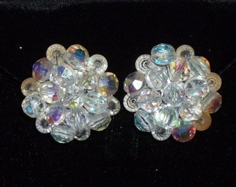 Vintage Aurora Borealis AB Rhinestone Clip on Earrings