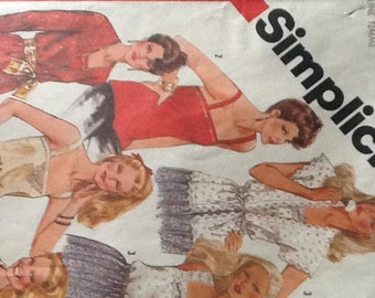 Vintage Simplicity Pattern 5352 set of camisoles and jackets tank tops blouses 1981