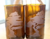 Love It Sale Little Tree Etched Beer Bottle Glasses