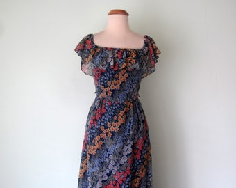 70 dress / floral maxi ruffle off shoulder print boho summer festival (xs - s)