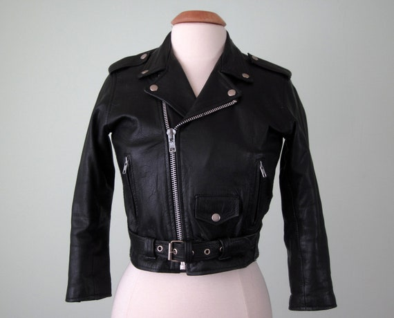 80s leather jacket / black zipper motorcycle cafe cropped fitted (xs - s)