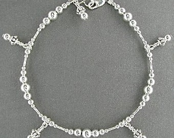 Sterling Silver Anklet, Small to Plus Size Silver Ankle Bracelet with Dangle Charms - 9, 9.5, 10, 10.5, 11, 11.5, 12, 12.5, 13 13.5, 14 Inch