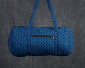 Quilted Duffle bag in Navy Blue with Blue Print.