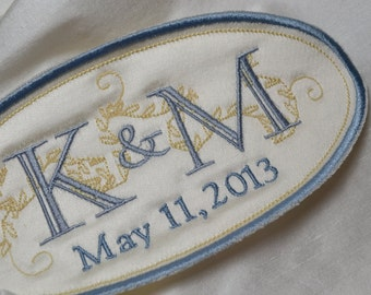 Custom Embroidered Wedding Dress Label French Silk Satin and Freesia with Grey and Blue Thread SOMETHING BLUE
