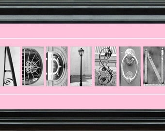 """10""""x20"""" Personalized  Baby Pink/Blue Architectural Letter Art Print"""