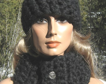Hat and Cowl/Neckwarmer Set Dark Charcoal Gray Crochet Thick Wool Blend