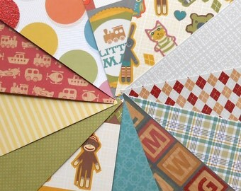 DESTASH - DCWV Kidlet: Boy - Pack of 12 Different Scrapbook Papers, 6 inch X 6 inch