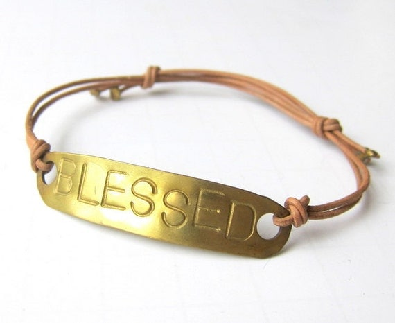 BLESSED Brass and Leather Bracelet - Stamped Brass