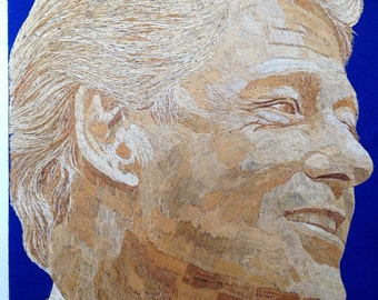 President BILL CLINTON on ancient leaf art.  Not a photo, Print or Painting but handmade with rice straw