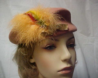 High fashion hat with marabou feather-100 % tan wool made in USA- fits 22 inches