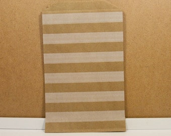 Middy Bitty Bags - Kraft/White Stripe