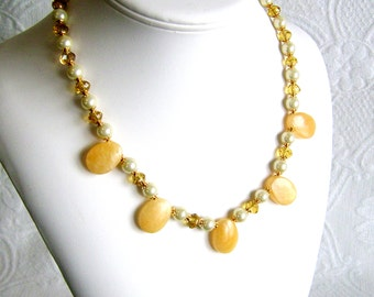 Yellow Calcite Teardrops with Pearls and Crystal Necklace
