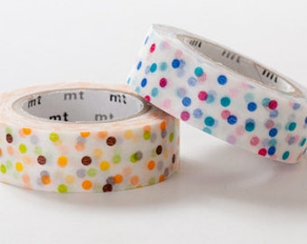mt Washi Masking Tape - Pink & Yellow Confetti Dots - Set 2