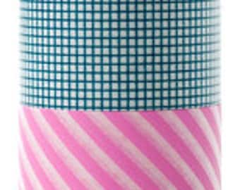 mt Washi Masking Tape - Teal Grid & Pink Stripes - Wide Set 2 - I