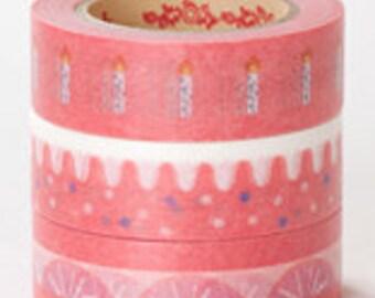 Rink Washi Masking Tape - Red Cake & Candles - Set 3
