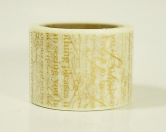 20% off sale - Aimez Washi Masking Tape - Gold Calligraphy - Wide