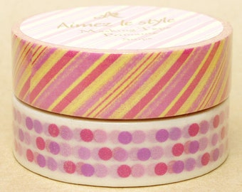20% off sale - Aimez Washi Masking Tape - Pink Stripes or Dot Line