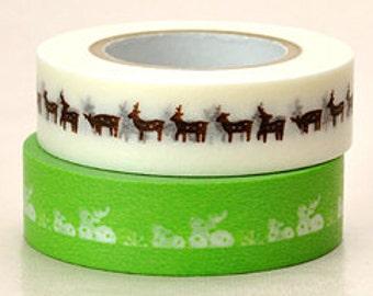 Japanese Washi Masking Tape - Green & Brown Deer - Set 2