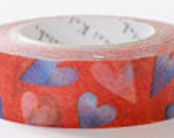 Shinzi Katoh Masking Tape - Hearts in Red & Blue