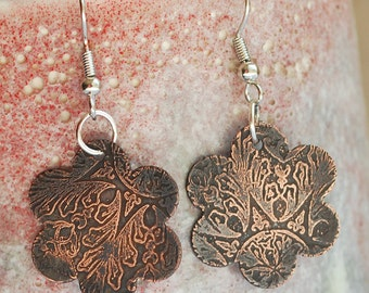 etched copper earrings...  X 741