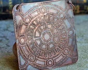 etched copper pendant...   X