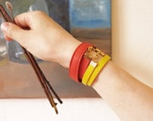 Lemon Yellow and Coral Leather Double Wrap Around Bracelets Set Of Two Leather Bracelets
