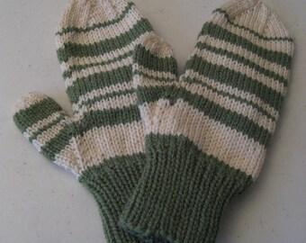 Green & Cream Striped Wool Knit Mittens