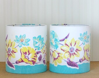 SALE - Floral Drum Shade - Lamp Shade - Vintage Tablecloth - Lampshade - Aqua Lamp Shade - Kitchen Lamp Shade - Floral Lamp Shade