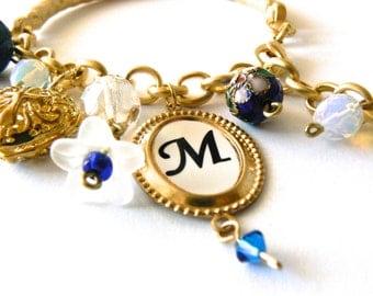 Gold blue personalized initial monogram bracelet. Charm bracelet. Heart locket. Christian jewelry. Religious.