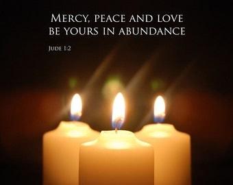 Jude 1:2 - Mercy Peace Love - Christmas Inspirational 10x8 Print - Bible Text - still life, friendship, fellowship, Christian