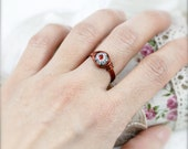 PIF - Size 6 - Tiny millefiori bead wire wrapped ring