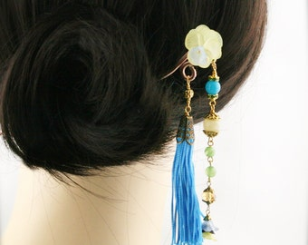 Maiden by the moon hair stick (HS) -  jade, and topaz