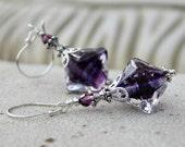 Glass Lampwork Drop Earrings - Purple, Violet,